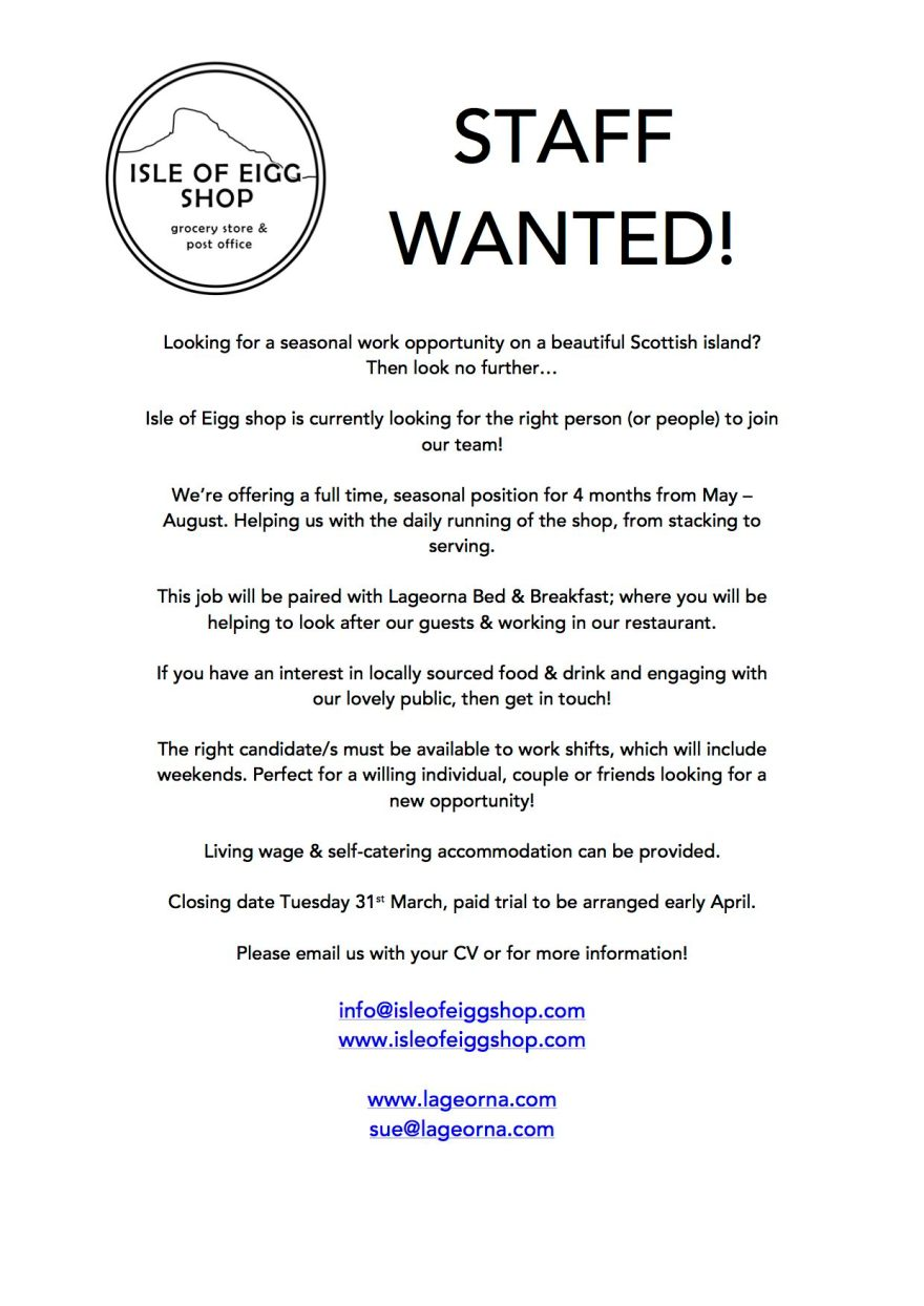 SHOP STAFF WANTED